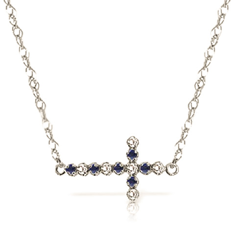 Bargain Sapphire and Diamond Cross Pendant Necklace 0.15ctw in 9ct White Gold Stockists
