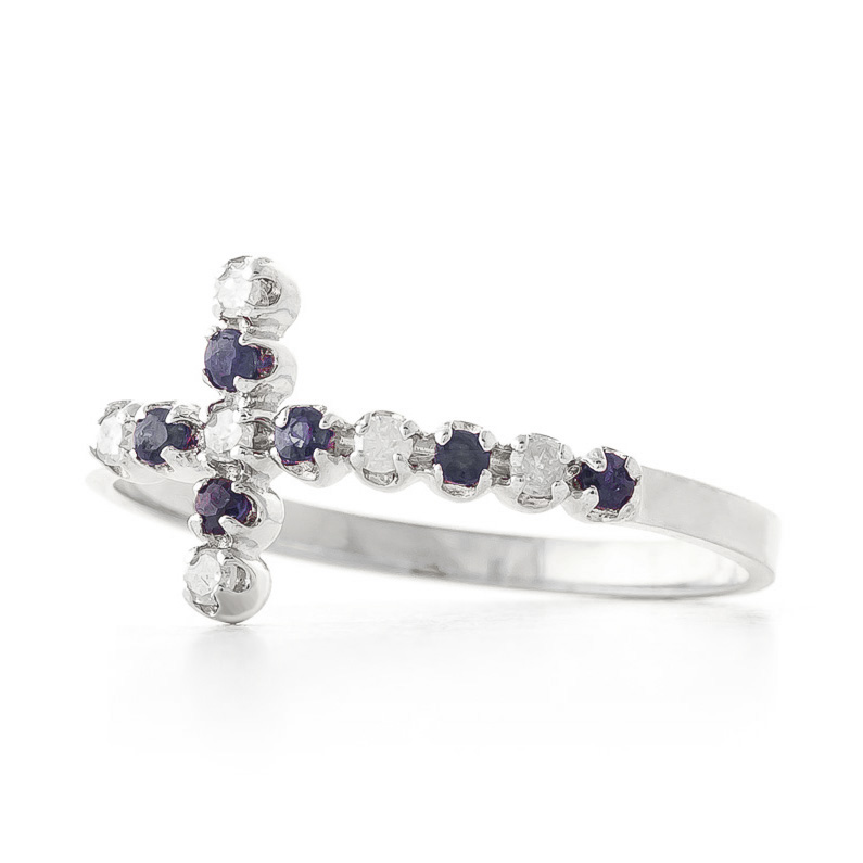 Bargain Sapphire and Diamond Cross Ring 0.15ctw in 9ct White Gold Stockists
