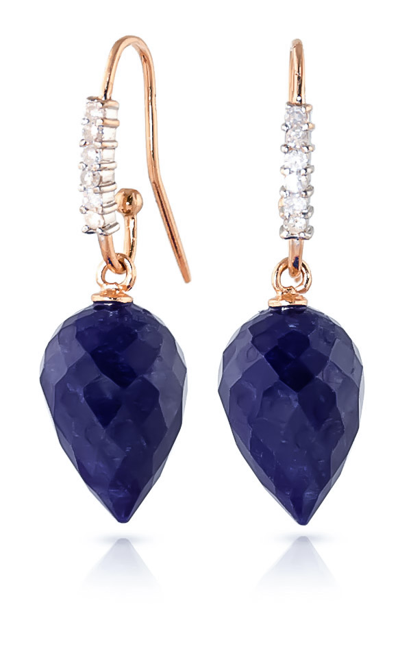 Bargain Sapphire and Diamond Drop Earrings 25.8ctw in 9ct Rose Gold Stockists