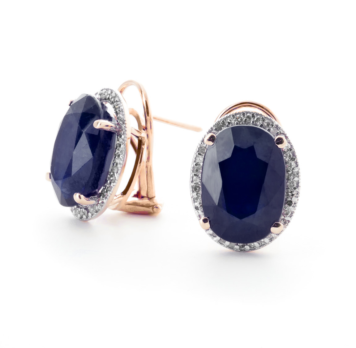 Bargain Sapphire and Diamond French Clip Halo Earrings 12.8ctw in 9ct Rose Gold Stockists