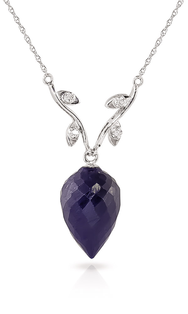 Bargain Sapphire and Diamond Pendant Necklace 12.9ct in 9ct White Gold Stockists