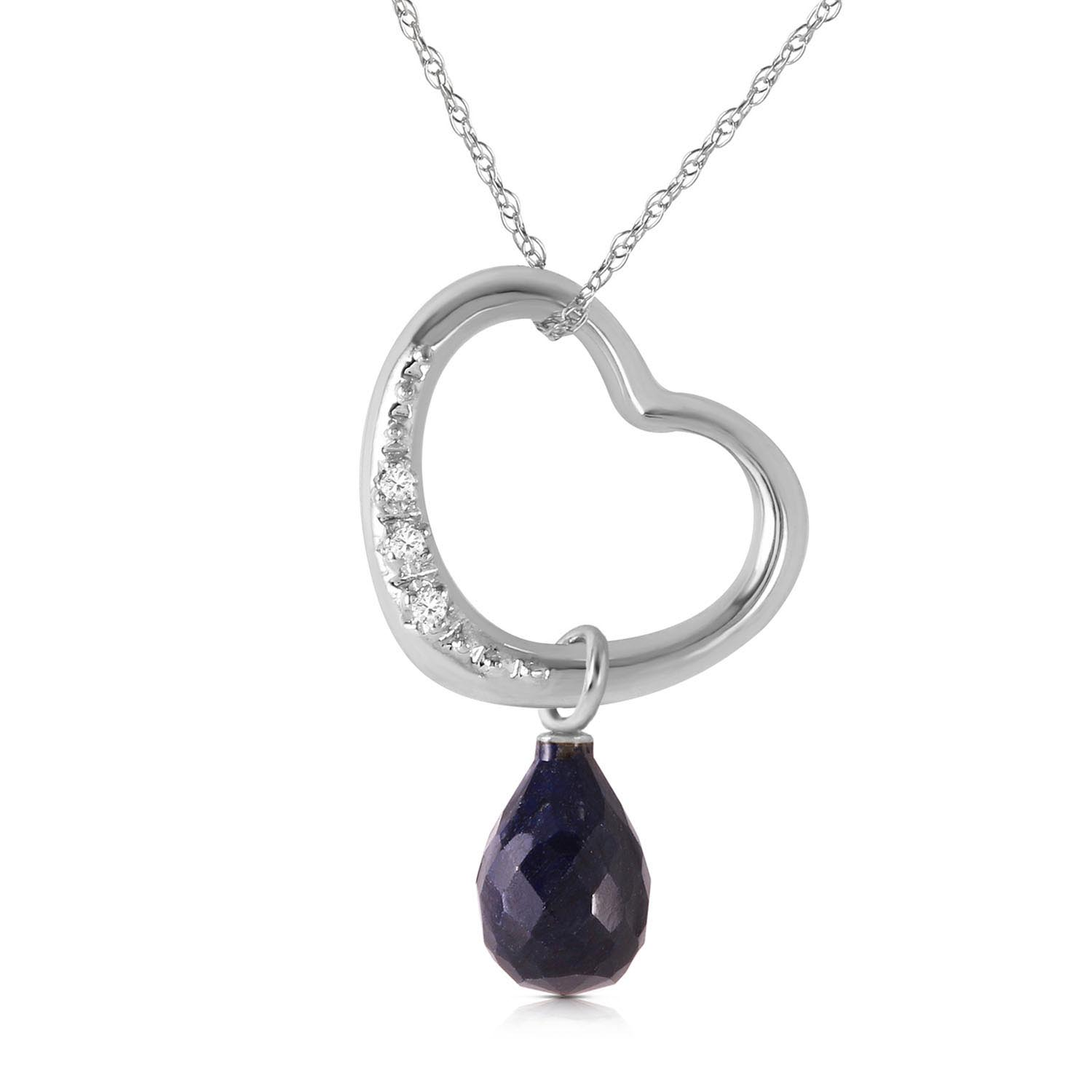 Bargain Sapphire and Diamond Pendant Necklace 3.3ct in 9ct White Gold Stockists