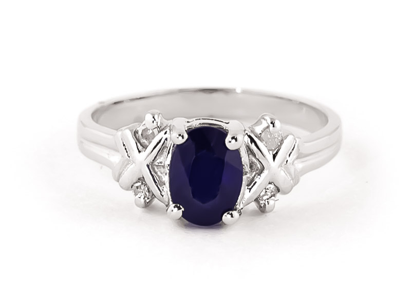 Bargain Sapphire and Diamond Ring 1.35ct in 9ct White Gold Stockists