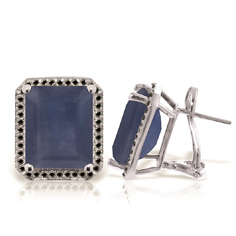 Bargain Sapphire and Diamond Stud French Clip Halo Earrings 12.8ctw in 9ct White Gold Stockists
