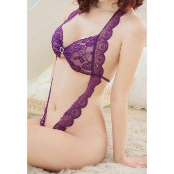 Bargain Sexy Style Halterneck See Through Open Crotch Lace Teddy For Women Stockists