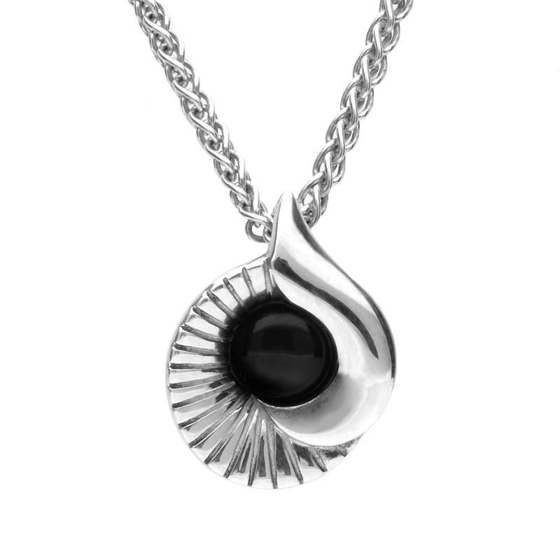 Bargain Silver And Whitby Jet Stone Seashell Necklace Stockists