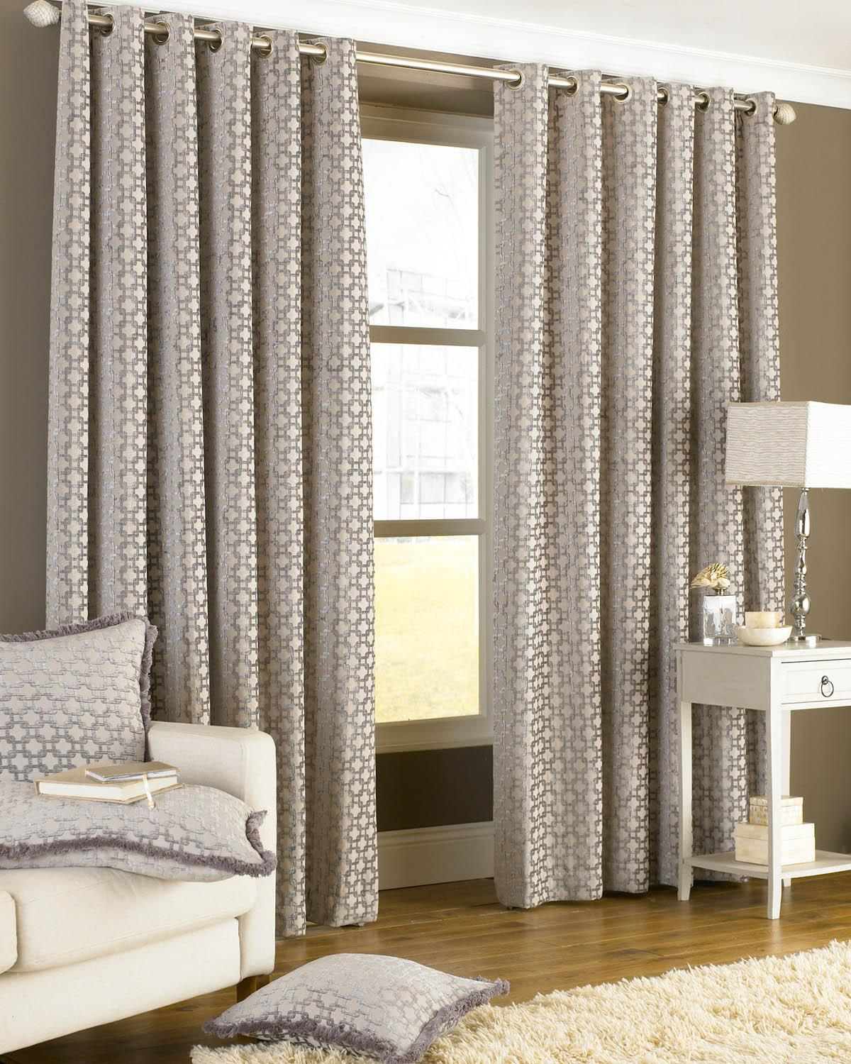 Stockists of Silver Belmont Eyelet Lined Curtains
