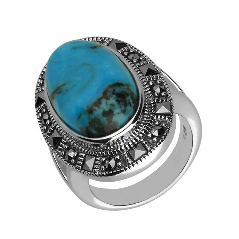 Bargain Silver Turquoise Marcasite Beaded Oval Ring Stockists