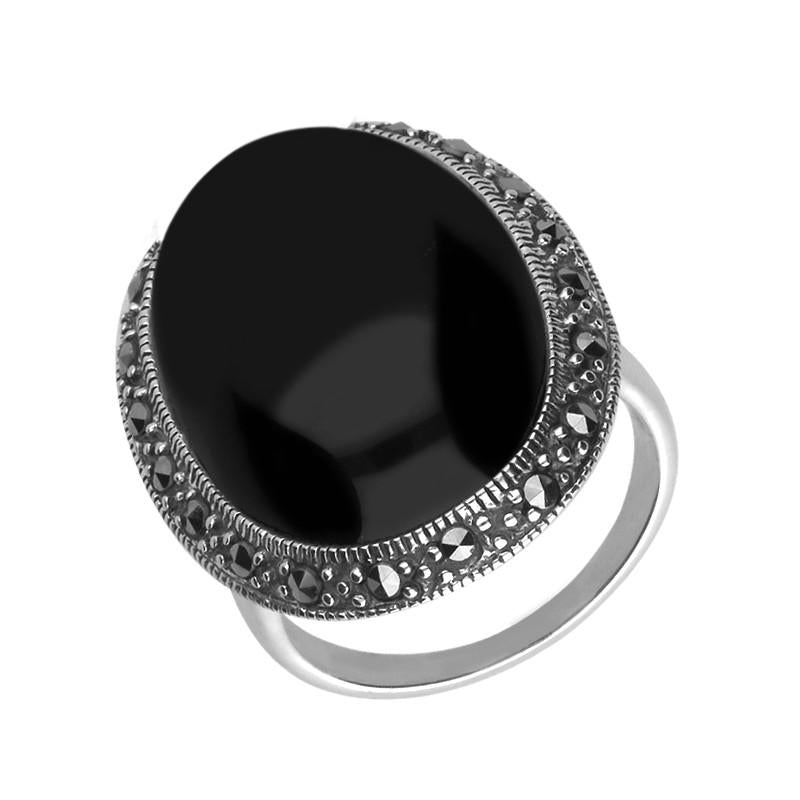 Bargain Silver Whitby Jet Marcasite Large Oval Ring Stockists