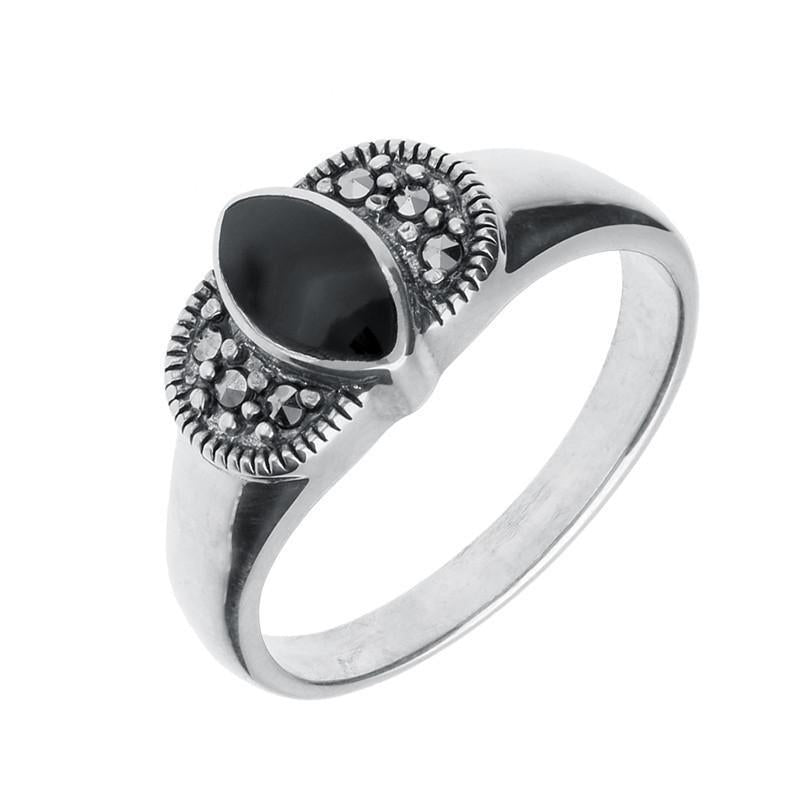 Bargain Silver Whitby Jet Marcasite Marquise Ring Stockists