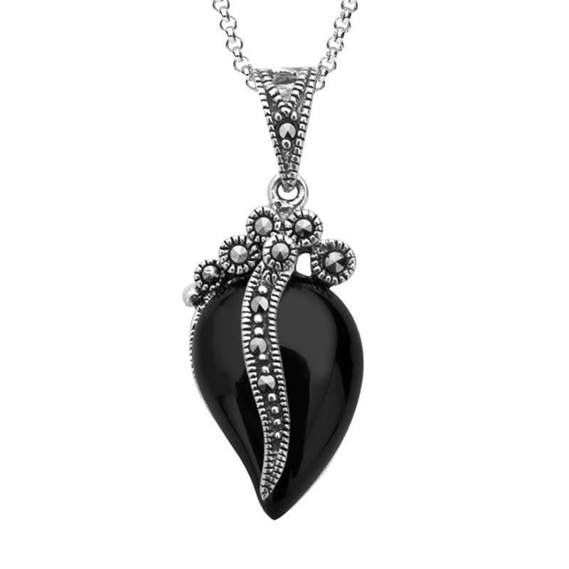 Bargain Silver Whitby Jet Marcasite Wave Bail Pear Pendant Necklace Stockists