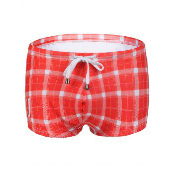 Stockists of Slimming Plaid Printed Lace Up Men's Swimwear