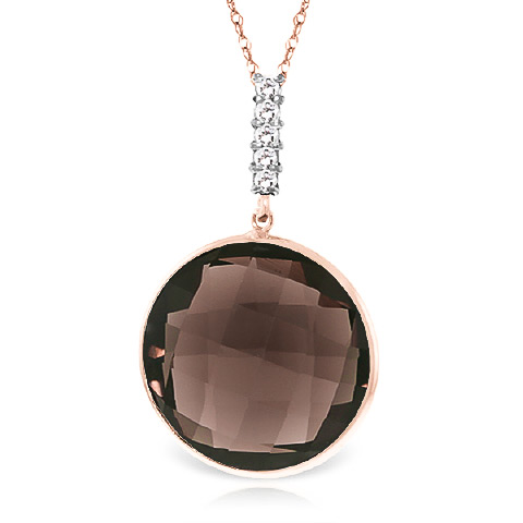 Bargain Smoky Quartz and Diamond Pendant Necklace 17.0ct in 9ct Rose Gold Stockists