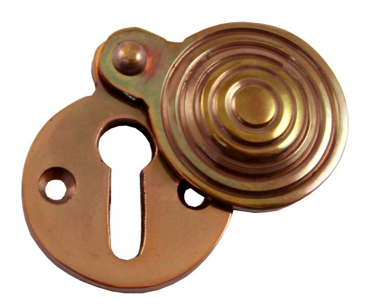 Stockists of Solid Bronze Reeded Keyhole Cover 31mm Diameter