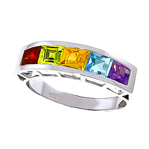 Bargain Square Cut Gemstone Ring 2.25ctw in 9ct White Gold Stockists