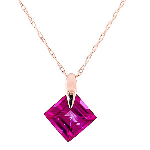 Bargain Square Cut Pink Topaz Pendant Necklace 1.16ct in 9ct Rose Gold Stockists