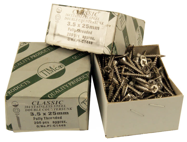 Stockists of Stainless Steel CSK Wood Screws Box of 200