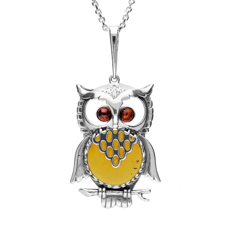 Bargain Sterling Silver Amber Large Owl Necklace Stockists