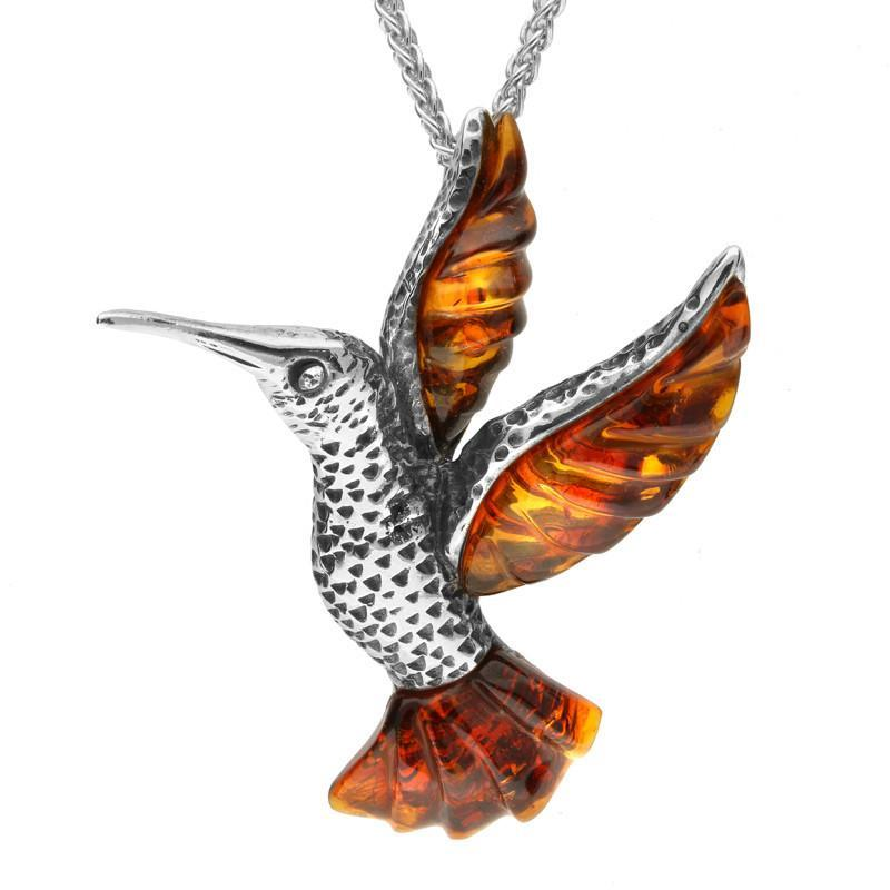 Bargain Sterling Silver Amber Small Kingfisher Necklace Stockists