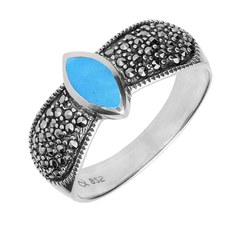 Bargain Sterling Silver Turquoise Marcasite Marquise Beaded Shoulder Ring Stockists