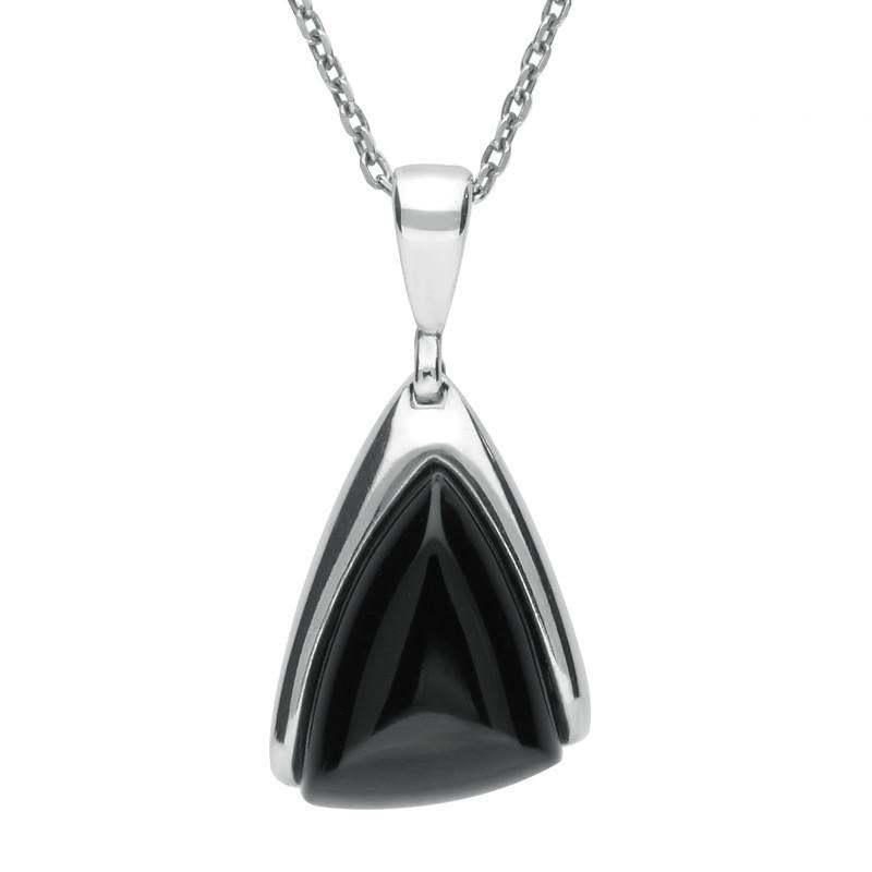 Bargain Sterling Silver Whitby Jet Abstract Triangle Necklace Stockists