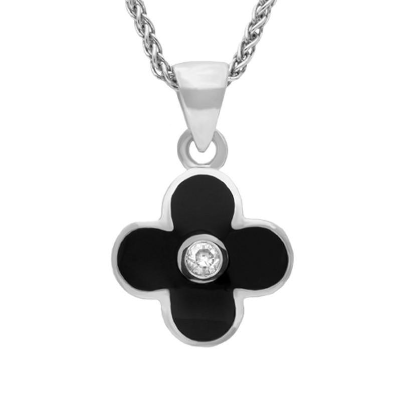 Bargain Sterling Silver Whitby Jet Cubic Zirconia Four Leaf Clover Necklace Stockists