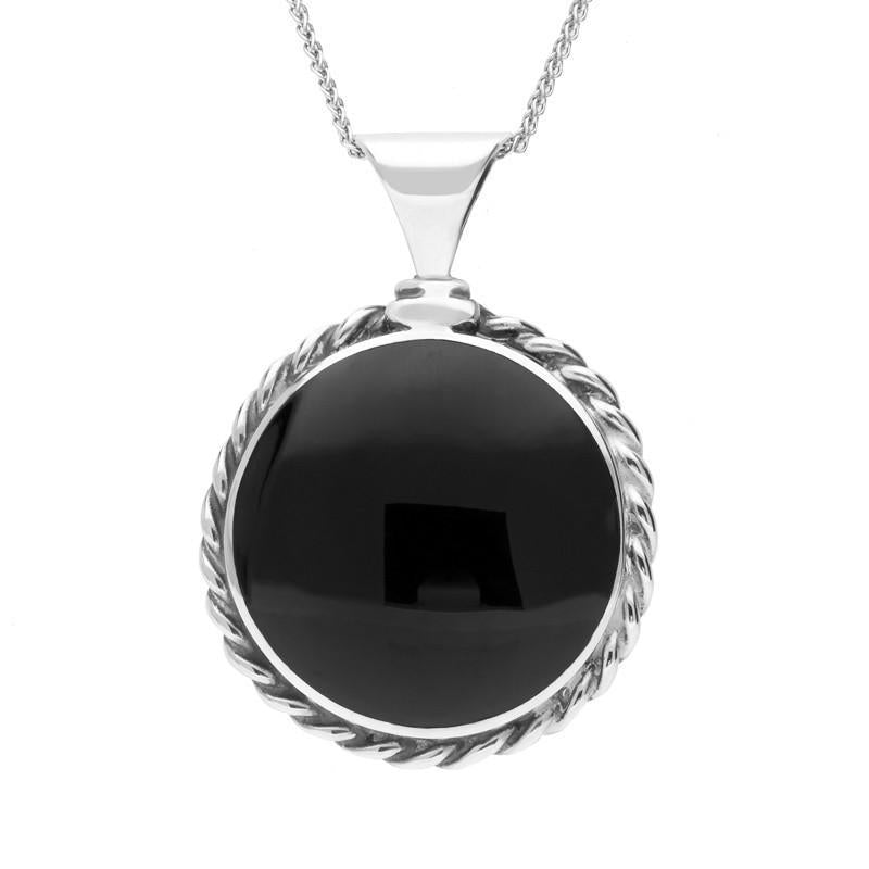 Bargain Sterling Silver Whitby Jet Large Rope Edge Necklace Stockists