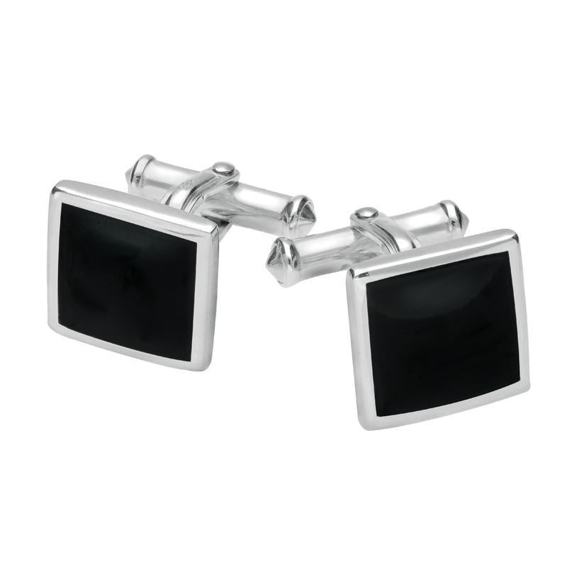 Bargain Sterling Silver Whitby Jet Square Flat Cufflinks Stockists