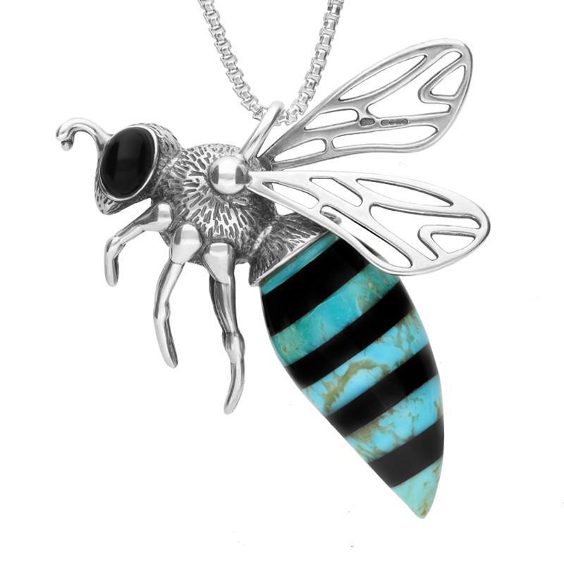 Bargain Sterling Silver Whitby Jet Turquoise Small Bee Necklace Stockists
