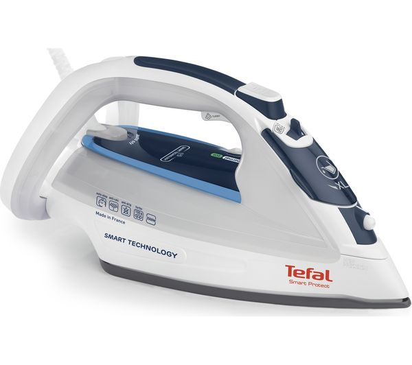 Bargain TEFAL Smart Protect FV4970 Steam Iron - White & Blue Stockists