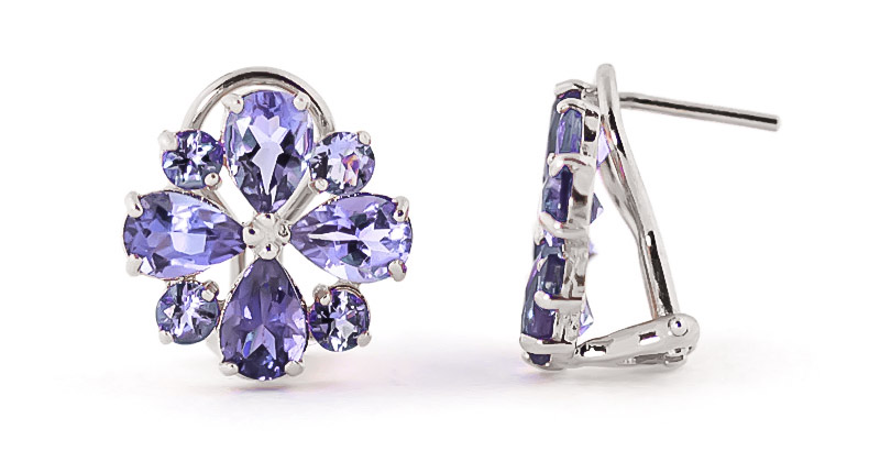 Bargain Tanzanite Sunflower Stud Earrings 4.85ctw in 9ct White Gold Stockists