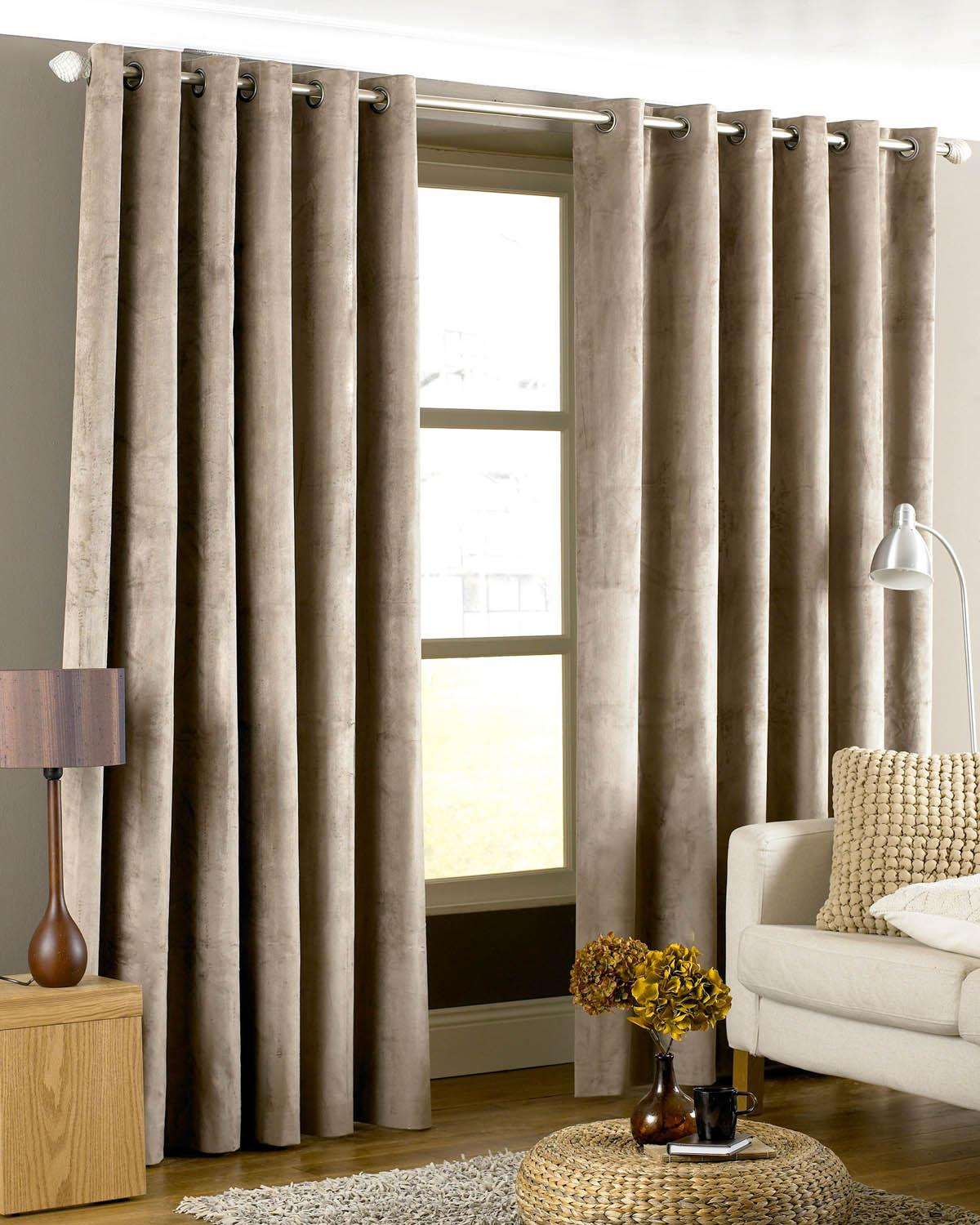 Stockists of Taupe Emperor Ready Made Faux Suede Lined Eyelet Curtains