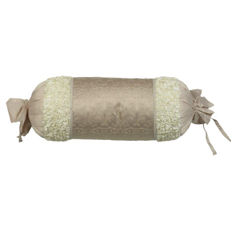 Bargain Taupe Lescala Filled Bolster Cushion Stockists