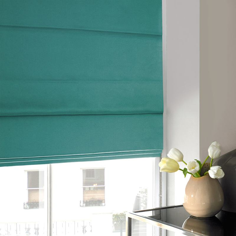 Stockists of Teal Aves Roman Blind