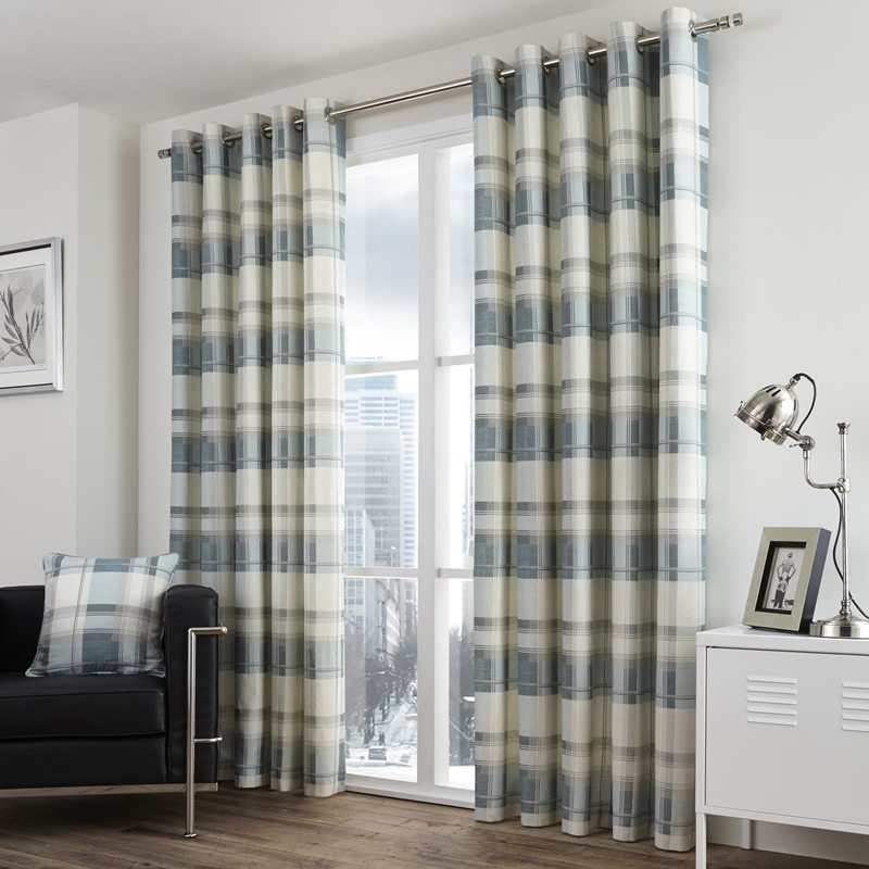 Stockists of Teal Balmoral Check Ready Made Eyelet Lined Curtains