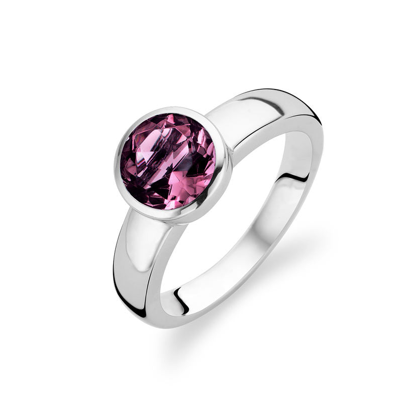 Bargain Ti Sento Ring Silver And Purple Cubic Zirconia Faceted Round Stockists
