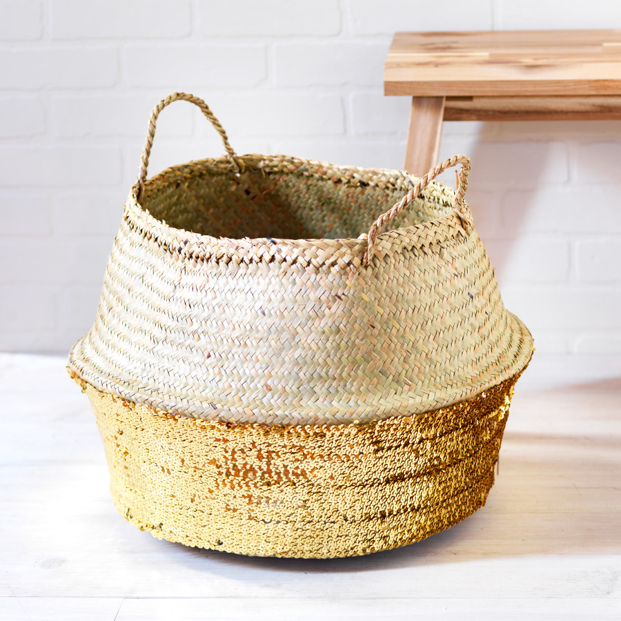 Bargain Toulouse Large Sequin Basket   Gold Stockists
