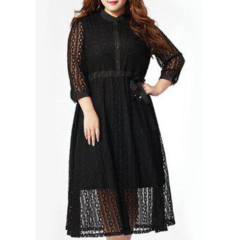 Bargain Trendy Plus Size Button Fly Bowknot Waist Hollow Out Dress For Women Stockists