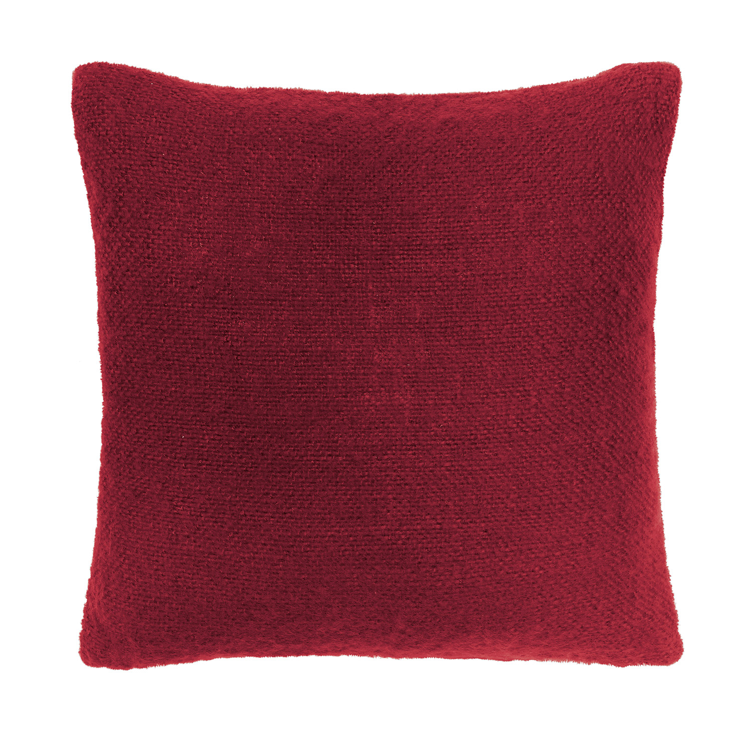 Bargain Whisper Red Faux Mohair Filled Square Cushion Stockists