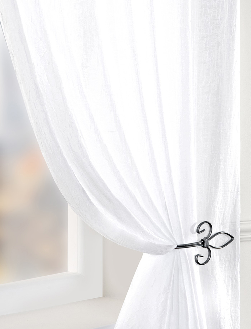 Stockists of White Crushed Double Width Voile Curtain Panel