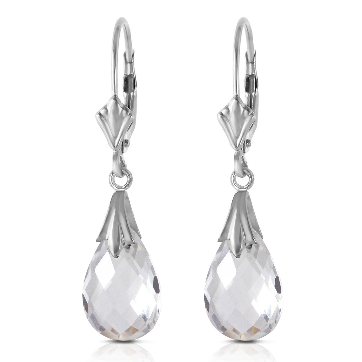 Bargain White Topaz Droplet Briolette Earrings 6.0ctw in 9ct White Gold Stockists