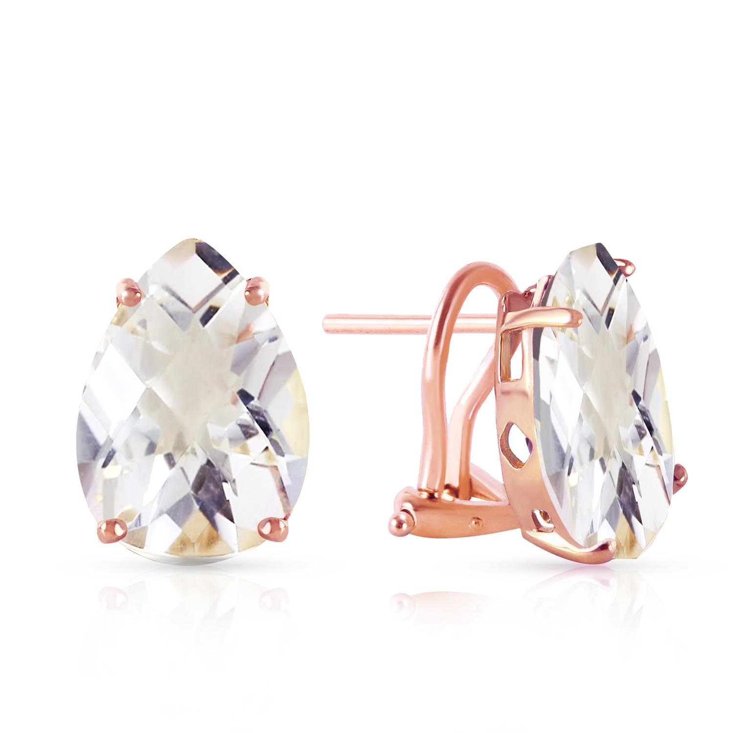 Bargain White Topaz Droplet Stud Earrings 10.0ctw in 9ct Rose Gold Stockists