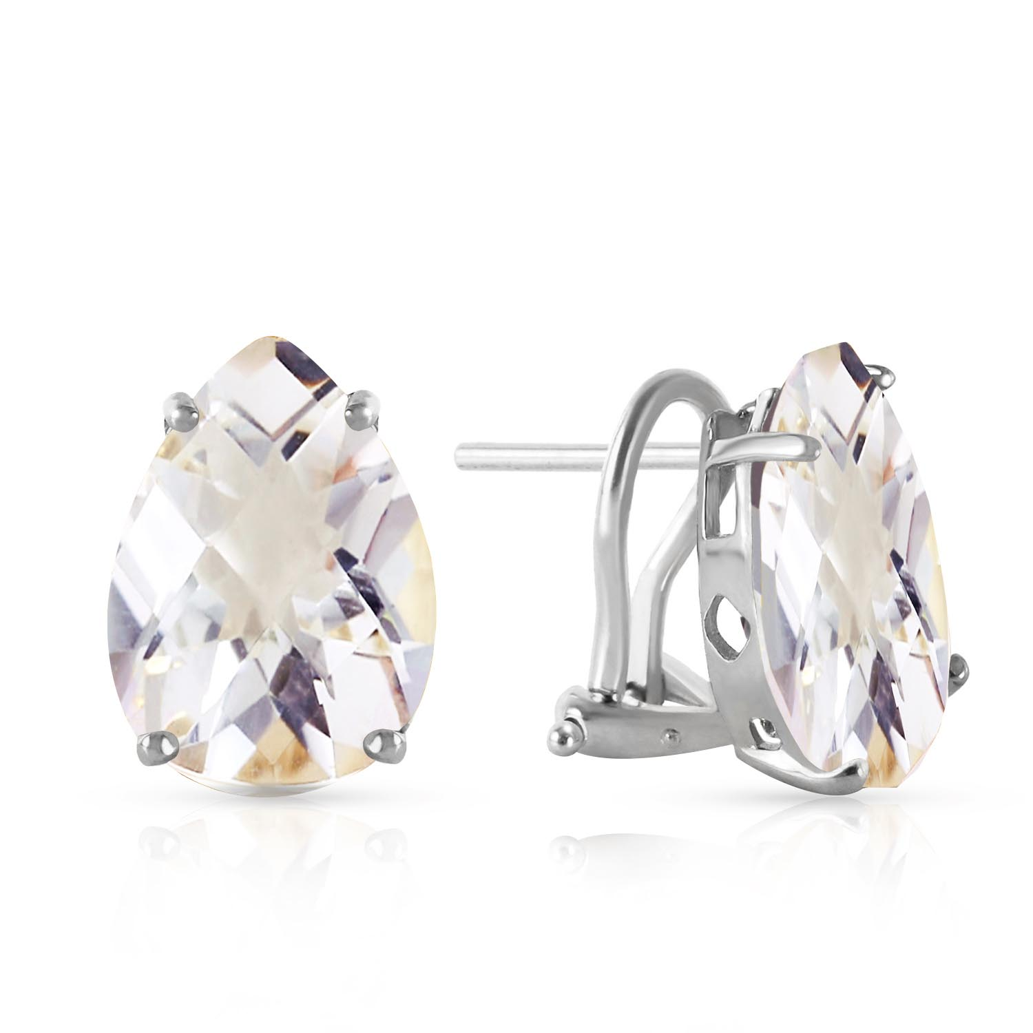 Bargain White Topaz Droplet Stud Earrings 10.0ctw in 9ct White Gold Stockists