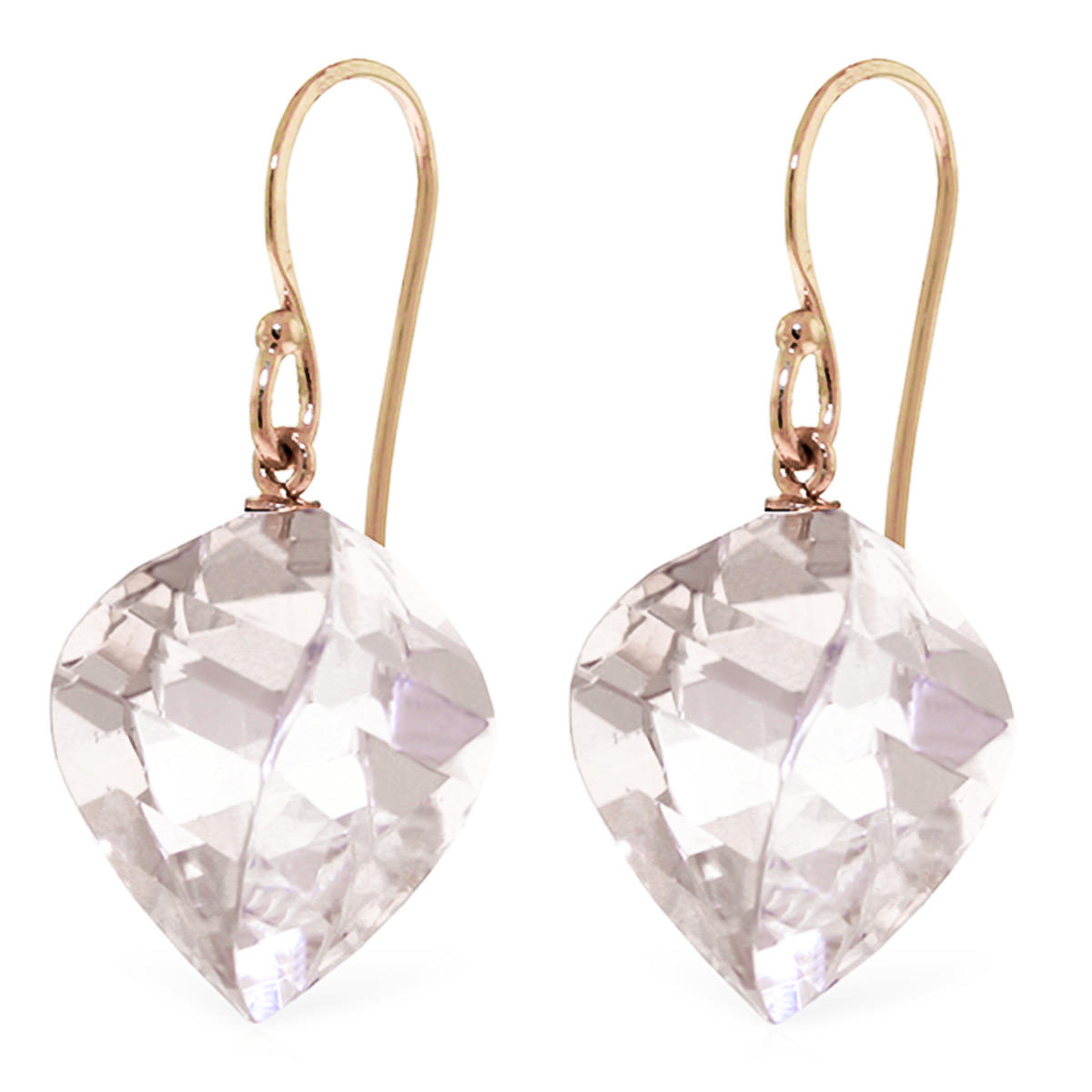 Bargain White Topaz Spiral Briolette Drop Earrings 25.6ctw in 9ct Rose Gold Stockists