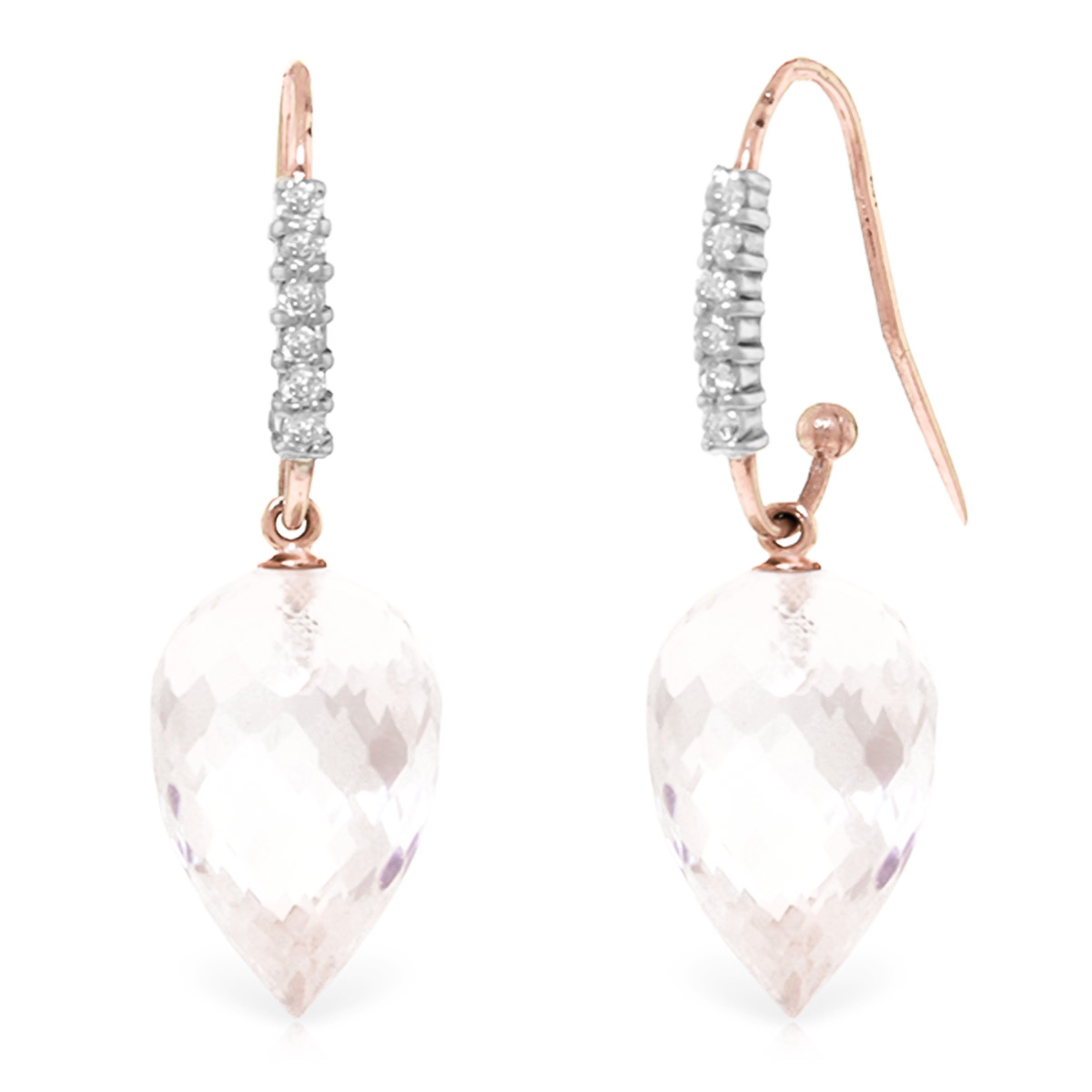 Bargain White Topaz and Diamond Drop Earrings 24.5ctw in 9ct Rose Gold Stockists