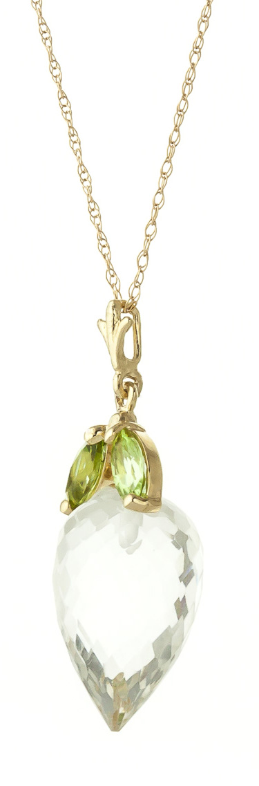 Bargain White Topaz and Peridot Pendant Necklace 12.75ctw in 9ct Gold Stockists