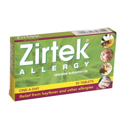 Stockists of Zirtek Allergy Tablets 10mg (30)